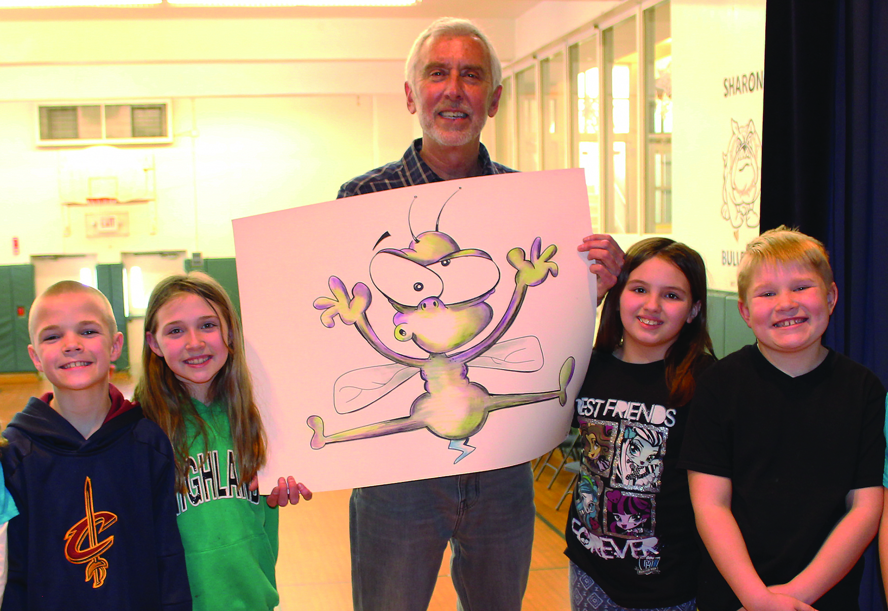 Jeff Nicholas, Highland retired teacher and artist, with Sharon students